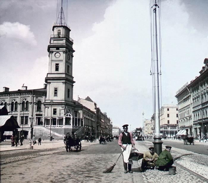 """F. Krátký: Petrohrad, 1896 Название: """"Něvský prospekt"""""""