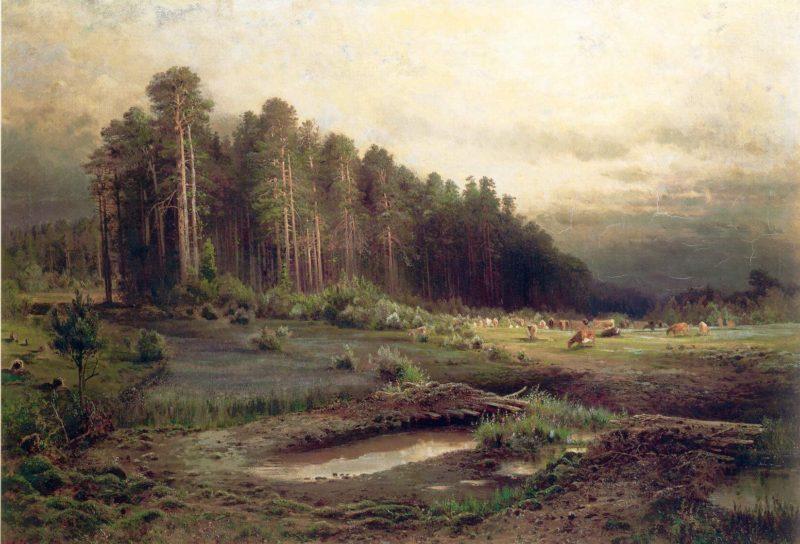 """""""Лосиный Остров в Сокольниках"""" - Алексей Саврасов, Дата: 1869 г."""