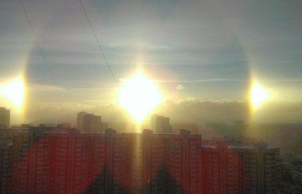 Двойная радуга или морозное гало в Москве