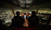 Посадка самолёта-ночная Москва-вид из кабины пилота