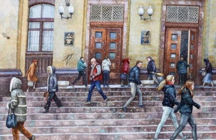 Зима в Москве глазами художницы Алёны Дергилёвой
