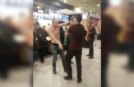 В Сокольниках посетитель McDonald's устроил драку.