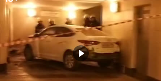 Ночью в подземный переход на МЦК, метро Шоссе Энтузиастов, залетел автомобиль.