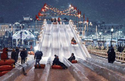 Бесплатная ледяная горка для катания на ватрушках появится на площади Революции