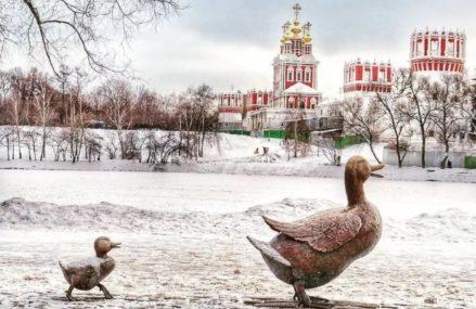 Непростая судьба памятника утке и утятам в сквере Новодевичьего монастыря