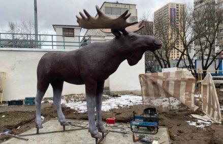 На Открытом шоссе установили фигуру лося — талисман Метрогородка
