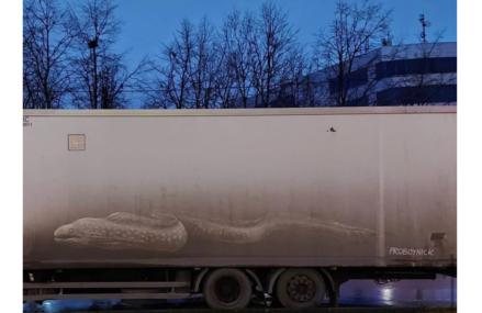 На грязном грузовике в Новогирееве изобразили картину известного японского художника